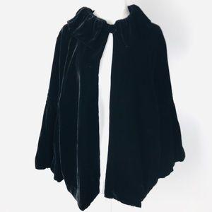CAbi Black Velvet Satin Lined Cape Poncho Coat XL